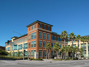 Exterior street view of biopharmaceutical corporate buildings