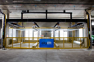 Front view of automated parking elevator stalls